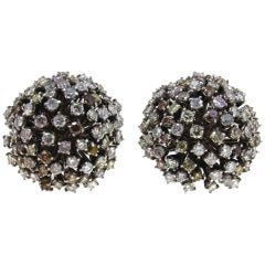 Fancy Colored and White Diamonds, White Gold Stud Earrings