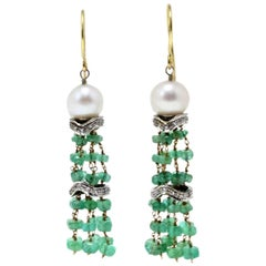 Luise Gold Diamond Emerald Pearl Dangle Earring