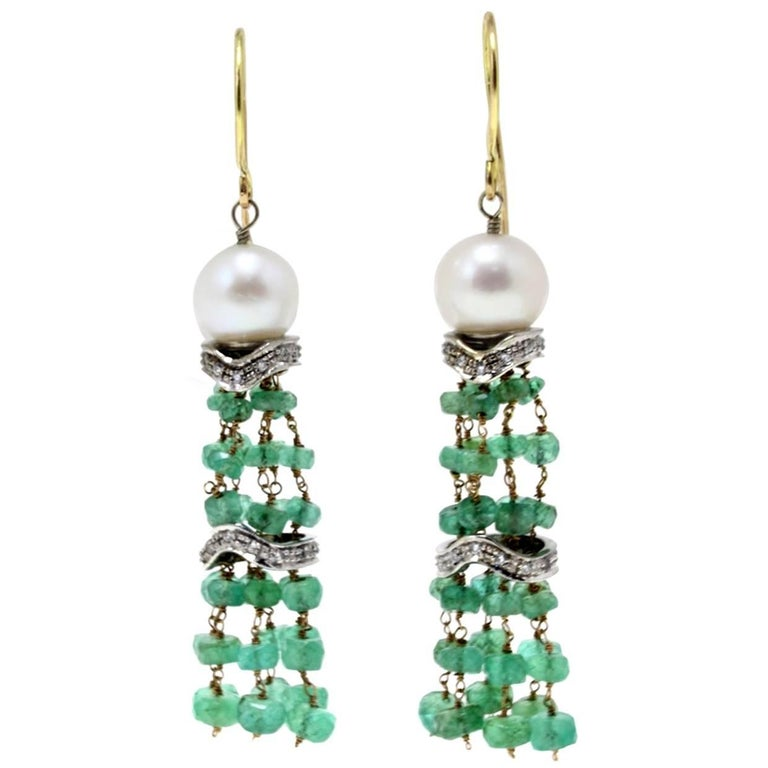 Gold Diamond Emerald Pearl Dangle Earring