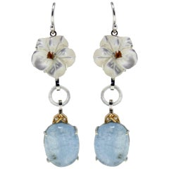 Luise Gold Diamond Topaz Mother-of-Pearl Aquamarine Dangle Earring