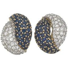 Diamond Sapphire Earclips