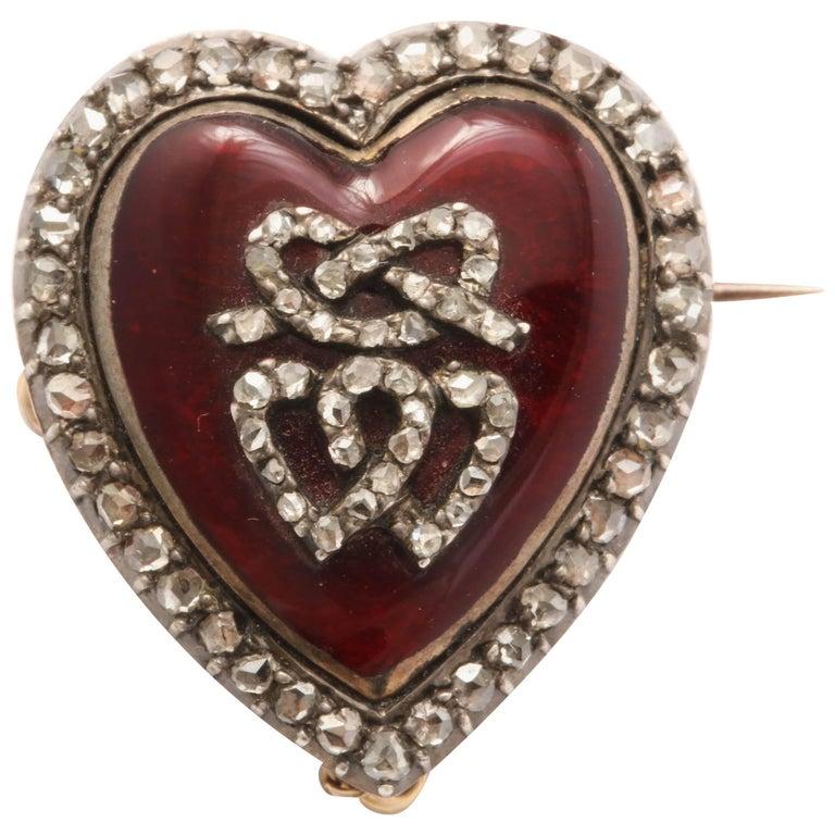 Garnet and Diamond Locket Brooch