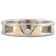 18 Karat and Palladium Mens Wedding Band