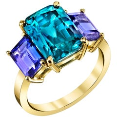 Blue Zircon and Tanzanite Ring