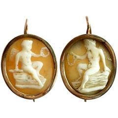 Cameo Earrings Eros Cupid Gold Shell Victorian Love Token Classical Greek God