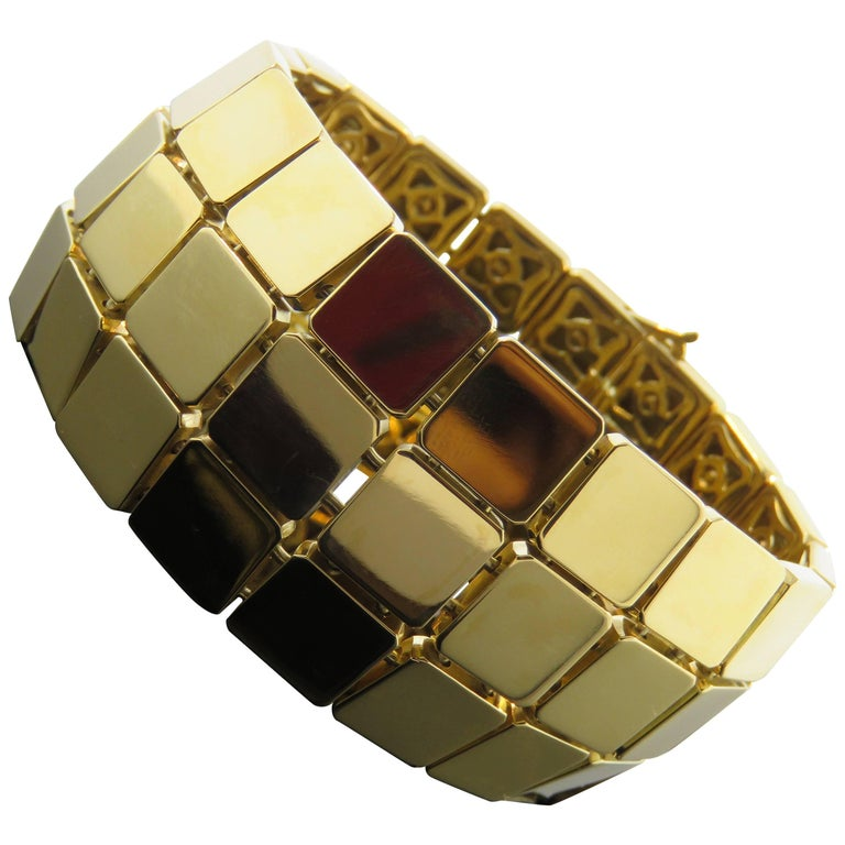 Tiffany and Co Square Gold Box Bracelet at 1stdibs
