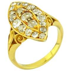 Victorian Old European Cut Diamond Navette 18 Karat Yellow Gold Engagement Ring