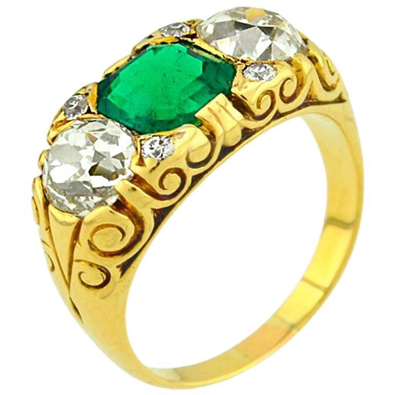 Victorian Columbian Emerald AGL certificate and Diamond Gold Ring