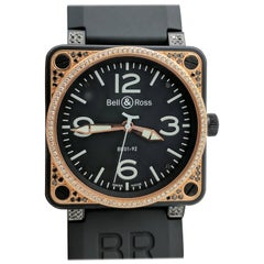 Bell & Ross Rose Gold Black Stainless Steel Diamond Automatic Wristwatch