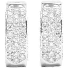 Heart Motif Pave Set Diamond Cuff Earrings