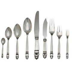 Georg Jensen Acorn Sterling Silver Flatware Service for 18