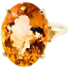 12.75 Carat Brilliant Peachy/Orange Tourmaline Sterling Silver Ring