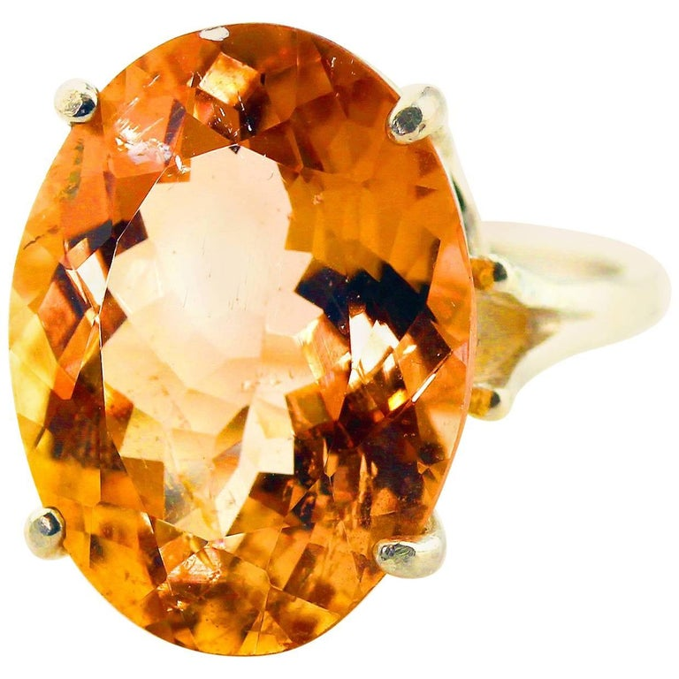 12.75 Carat Brilliant Peachy/Orange Tourmaline Sterling Silver Ring For Sale
