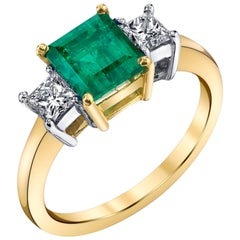 1.46 Carat Emerald and Diamond 18k Yellow and White Gold 3-Stone Engagement Ring