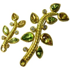 Pair of Judith Ripka Yellow Beryl Peridot Diamond Gold Branch Pins
