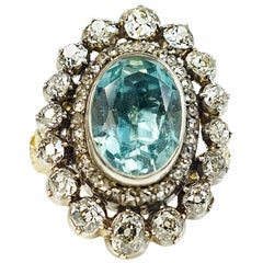 Old Aquamarine Diamond Ring