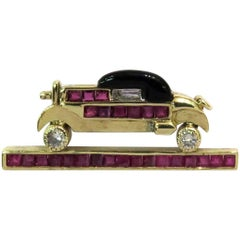 Stunning Diamond Ruby Onyx Gold Classic Car Pin