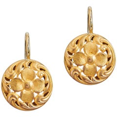 Art Noveau French Hallmark Gold Lever-Back Earrings
