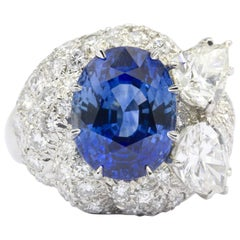 David Webb 7.93 Carat Sapphire and 4.25 Carat Diamond Platinum Ring