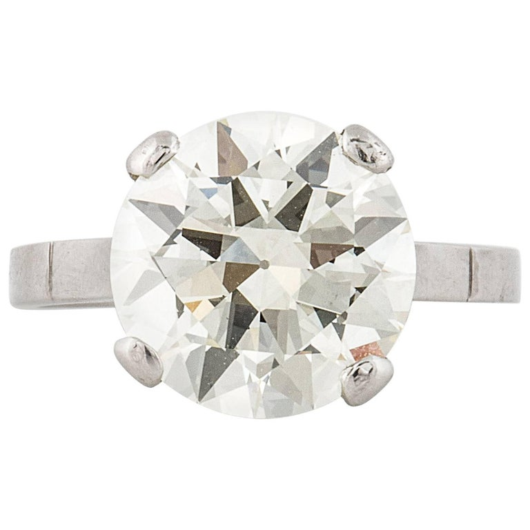 GIA Certified 4.11 Carat Diamond Solitaire Ring