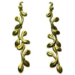 Timeless Kieselstein Cord Long Vine Motif Gold Earrings