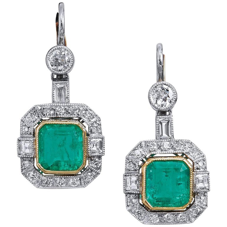Colombian Emerald and Diamond Drop Earrings