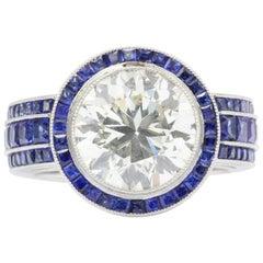4.03 Carat Diamond and 2 Carat Sapphire Platinum Engagement Ring