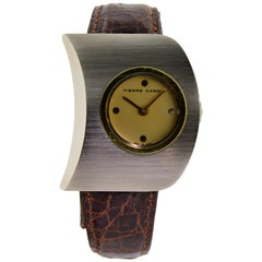 Pierre Cardin Jaeger Le Coultre Stainless Steel Yellow Gold Moderne Wristwatch