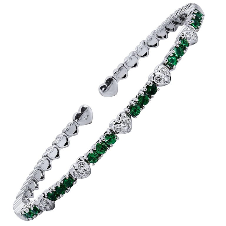 Tsavorite and Diamond Bracelet For Sale