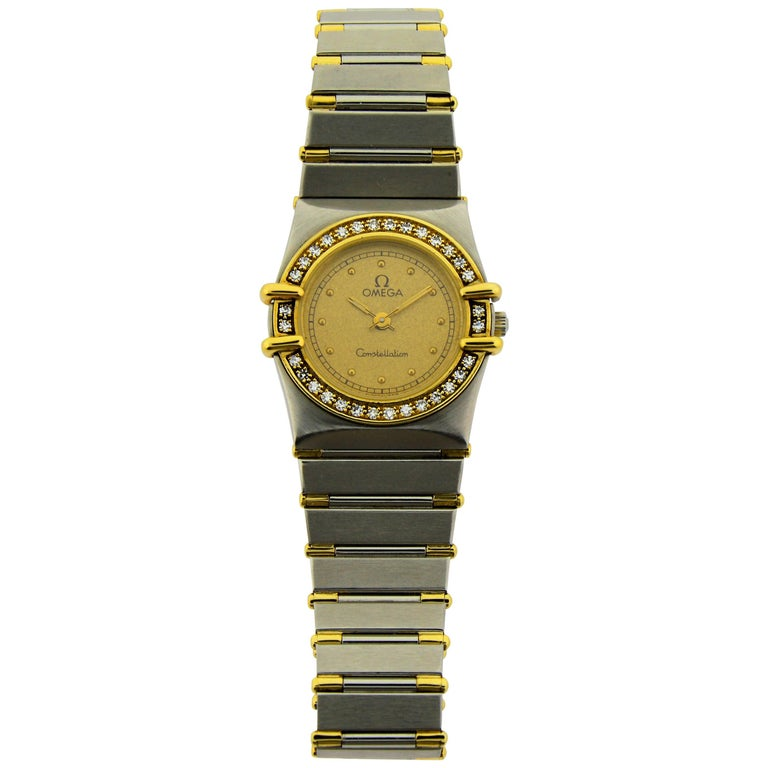 Omega Ladies Yellow Gold Stainless Steel Diamond Constellation Quartz Watch