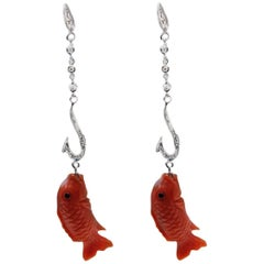 Luise Diamond and Coral Dangle Earrings