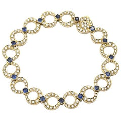 18 Karat Yellow Gold Sapphire and Diamond Bracelet