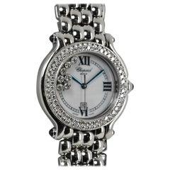 Chopard Ladies Stainless Steel Diamond Bezel Happy Diamonds Quartz Wristwatch