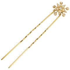 """Antique Victorian Diamond Pearl """"Star & Circles"""" Hair Pin"""