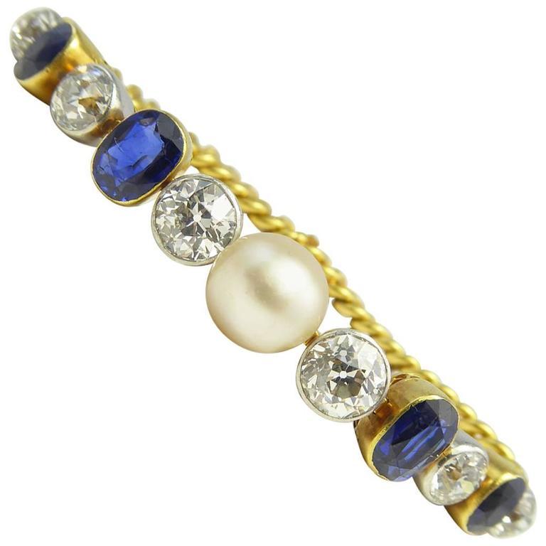 Art Deco Diamond, Sapphire & Natural Pearl Line Bracelet, 18Ct Gold & Platinum For Sale