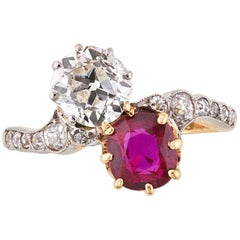 Fine Antique Ruby and Diamond Crossover Ring