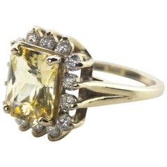 5.5 carat Sri Lanka Yellow Sapphire and Diamond Gold Ring
