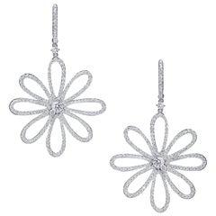 Gorgeous Diamond Flower Dangle Earrings