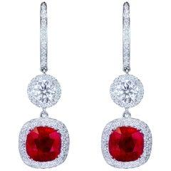 Cushion Cut Ruby and Diamond Halo Dangle Earrings