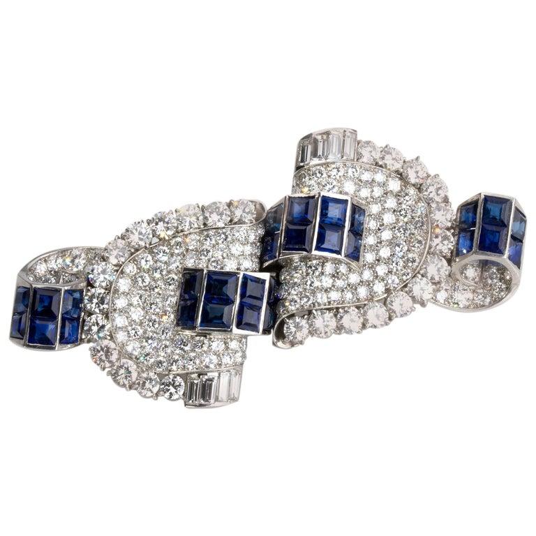Double Clip Sapphire Diamond Brooch