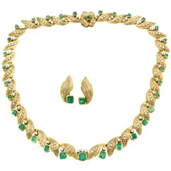Diamond and Emerald Gold Demi-Parure