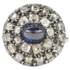 Georgian 2.0 Carat Natural Sapphire 2.40 Carat Diamond Rare Ring