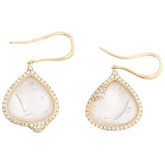Diamond and Bubble Glass Dangle Drop Gold Earrings