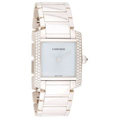 Cartier White Gold Diamond Ladies Tank Francaise Quartz Wristwatch Ref WE1020S3