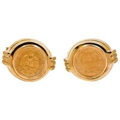 Dos Pesos Coin 14 Kt Yellow Gold Cufflinks