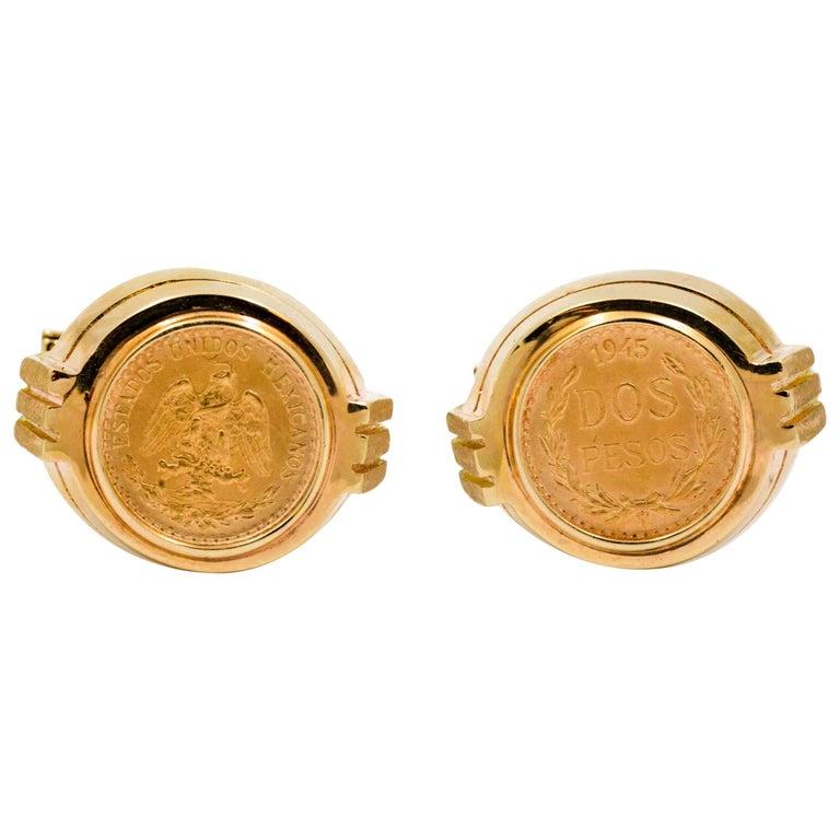 Dos Pesos Coin 14 Kt Yellow Gold Cufflinks