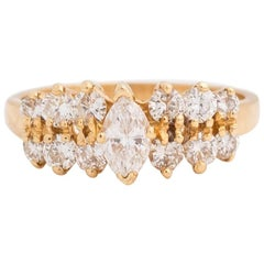 1980s Marquise and Round 1 Carat Diamond Ring