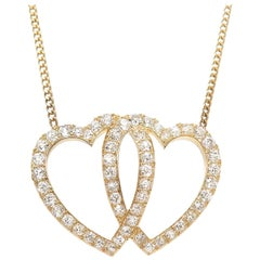 Victorian Gold and Diamond Double Heart Pendant Necklace