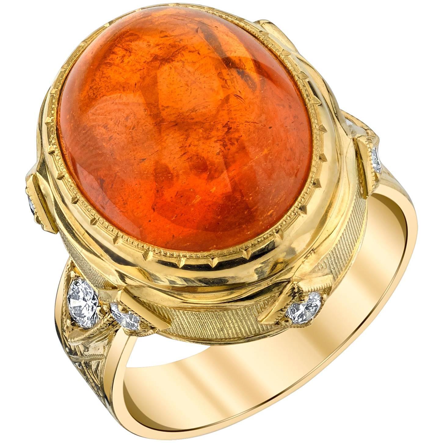 28.55 ct. Spessartite Garnet Cabochon, Diamond Yellow Gold Bezel Dome Ring
