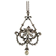 Edwardian Pendant, Silver over Gold with Pearl and Diamond on Platinum Chain